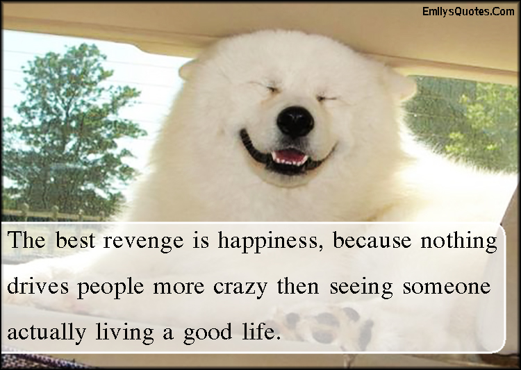 The best revenge is happiness, because nothing drives ...