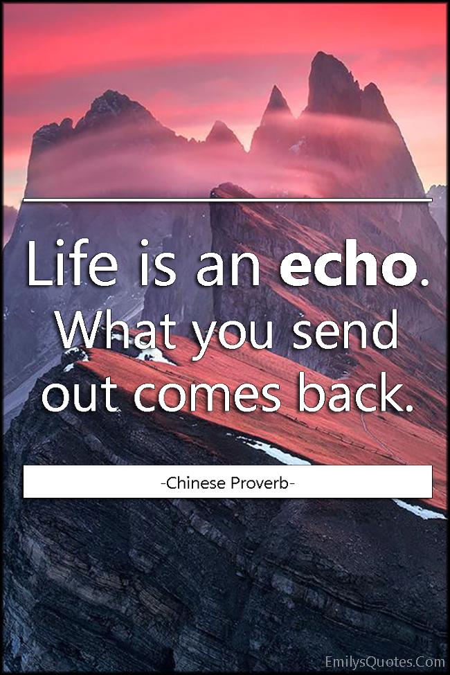Life is an echo. What you send out comes back | Popular ...